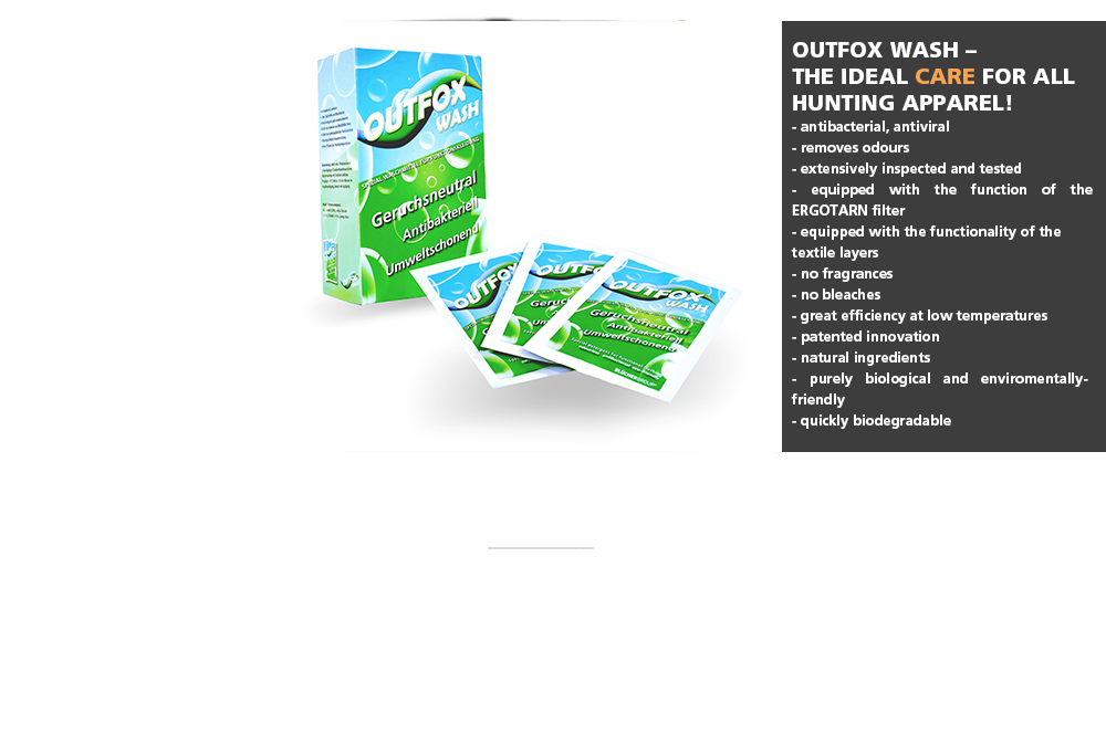 OUTFOX WASH       The MIRACLE detergent for hunting apparel